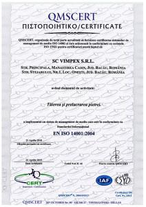 CERTIFICATE 14001 SC VIMPEX