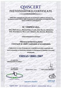 CERTIFICATE 18001 SC VIMPEX