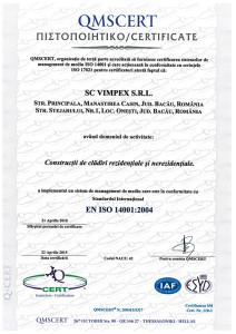 CERTIFICATE VIMPEX 14001